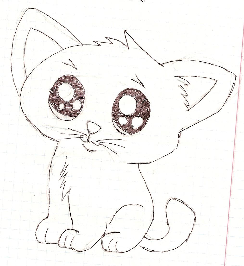 рисунки карандашом котята картинки